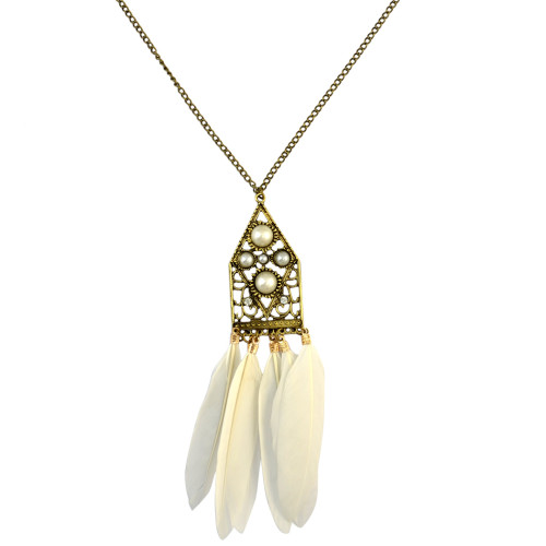 N-6178 Retro bronze chain lovely geometrical shape Venetian pearl feather pendant necklace
