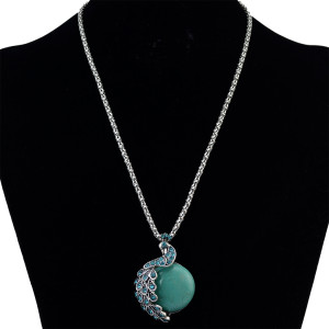 N-6189  Bohemian style silver chain fashion necklace natural turquoise bead  charm blue rhinestone peacock pendant necklaces women jewelry