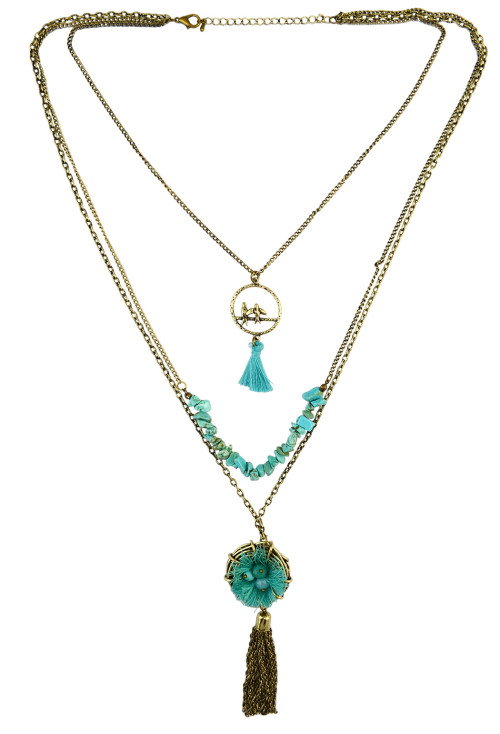 N-6187  Vintage 3 Multilayers Turquoise Beads Bronze Tassel Rope Necklace Pandant Necklaces