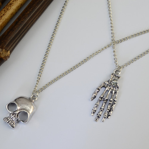 N-6196  Punk style two layers chain silver/gold fashion necklace tiny bone hands human skeleton pendant necklaces women jewelry