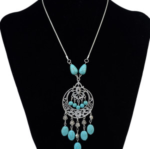 N-6195 2016 New Hot Sale Women Cheap silver plated Chain Flower Carved Shape Natural Stone Turquoise tessel pendant necklace