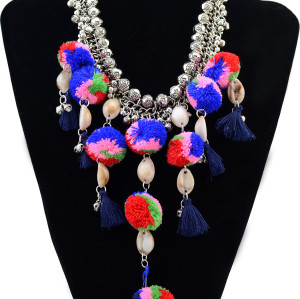 N-6192 Bohemian Style Fashion Necklaces & Pendants Silver Chain Beads Bell Colorful Cotton Balls Shells Rope Tassels Choker Statement Necklace Women Jewelry