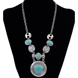 N-6193  New Arrival European Style Vintage Silver Plated Green Turquoise Beads Round Pandent Chain  Necklace for Lady's