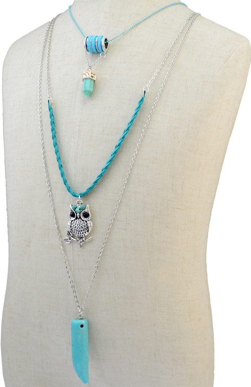 N-6190 Women's Jewelry  Silver 3 Multilayers Chain Owl Design Turquoise Pendant Necklace