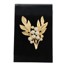 P-0314  Fashion gold plated pearl twig shape cute collor brooch Pin women jewelry