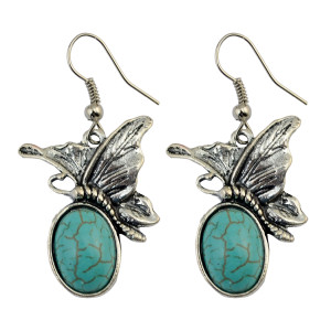 E-3763   Bohemian style silver plate cute butterfly turquoise dangle earrings fashion jewelry