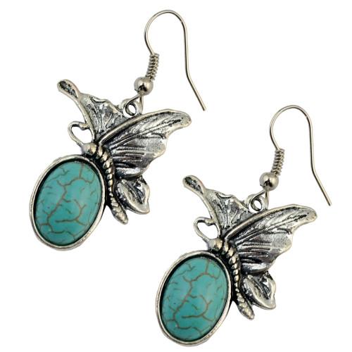 E-3763   Bohemian style silver plate cute butterfly turquoise dangle earrings fashion jewelry