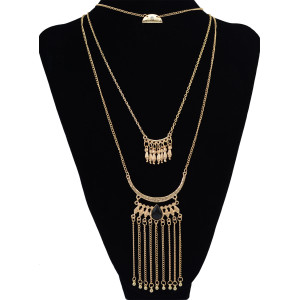 N-6200  3 Multilayers Fasion Gold Plated Long Tessel Chain pendant Necklace with Charm Bell and Black Resin Beads for Lady's