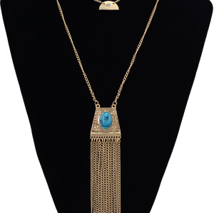 N-6201  Vintage Gold Oval Turquoise Long Double Chain Multilayer Tassel Pendant Necklace