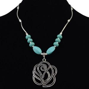 N-6202  Bohemian Silver Chain Beads Turquoise Flower Pendant Choker Bib Necklace Short