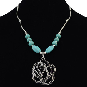 N-6202  Bohemian Silver Chain Beads Turquoise Flower Pendant Choker Bib Necklace Short
