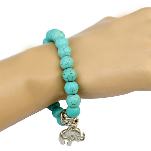 B-0705 Fashion New Summer Green Rhinestone Beads Charm bracelet Lovely  Elephent Shape Tessel Bangle Bracelet