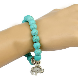 B-0705 Fashion New Summer Green Rhinestone Beads Charm bracelet Lovely  Elephent Shape Tessel Bangle Bracelet