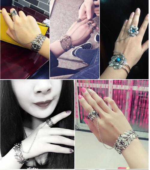 B-0708  New Fashion Vintage SilverGypsy Boho Hollow Flower Charms Lovers Beachy Chic Festival  Bracelets Jewelry