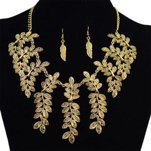 N-6209 Bohemian style gold/silver necklaces leaf tassel fashion choker statement necklace earrings for women jewelry set
