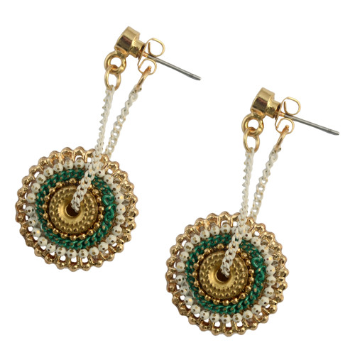 E-3762  Unique Desin Gold Plated Round Sahpe Crystal Alloy Dangle Earring Jewelry