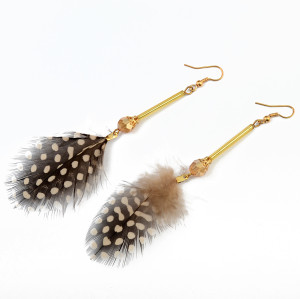 E-3766 Bohemian Vintage Gold Metal Leaves Feather Dangle Earrings for Women