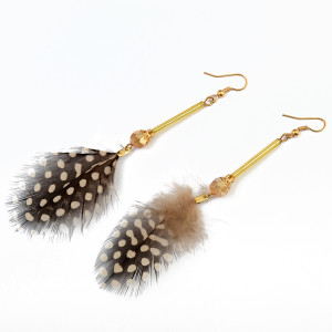 E-3766 Bohemian Vintage Gold Metal Leaves Feather Dangle Earrings for Women