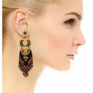 E-3765  European fashion gold plated resin beads long tassel luxury dangle earrings women jewelry