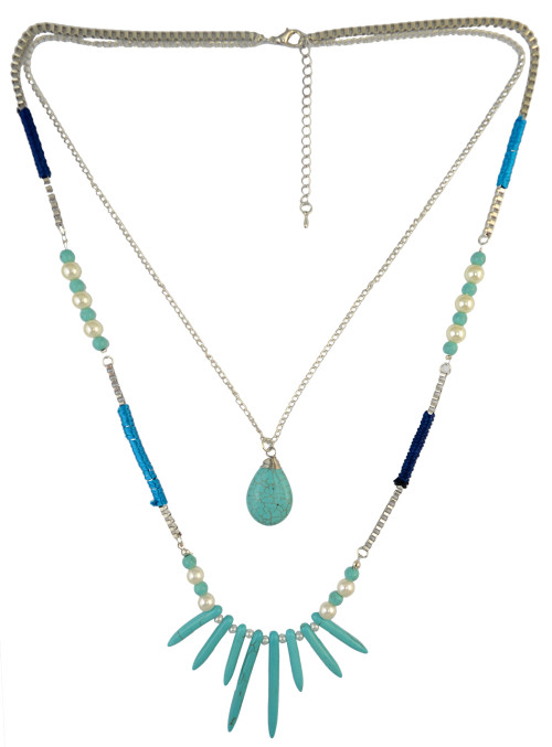 N-6205  Bohemian Style 2 Layer Silver Chains Fashion Necklaces Natural Turquoise Beads Pearls Pendant Necklace Women Jewelry