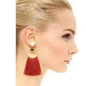 E-3768  European fashion gold plated resin bead luxruy semilune colorful thread tassel cute earrings fashion jewelry