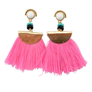 E-3768  European fashion gold plated resin bead luxruy semilune colorful thread tassel cute earrings fashion jewelry