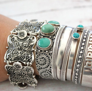 B-0524 Turkish Gypsy Vintage Tibet Silver Plated Coin Adjustable Bracelet