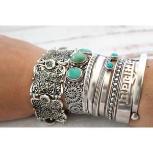 B-0524 Turkish Gypsy Vintage Tibet Silver Plated Coin Adjustable Bracelet