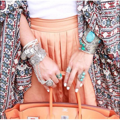B-0406 Turkish Fashion Vintage Style Handmade Boho Coin  Bracelet Metal Loop Plates Festival Costume