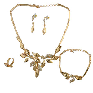 N-6216 Fashion Punk Style Leaf Shape Gold Necklace Crystal Rhinestone Choker Necklace Bracelet Ring And Earrings For Women Jewelry Set