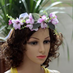 F-0319  Floral Hoop Headband Wedding Beautiful Purple Flower Leaf Garland Bridal Hair Wreaths Women Girls Festival Wedding Party Accessories
