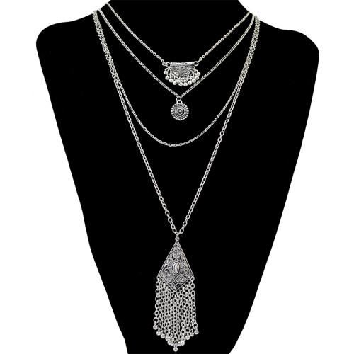 N-6213  Bohemian style retro alloy plated multi-layer chian long pendant chain tassel necklace jewelry