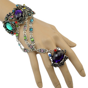 B-0710  Bohemian Antalya Gypsy Coachella Turkish Sinaya Flower Butterfly Rhinestone Beads Chic Bangle Finger Ring Bracelet