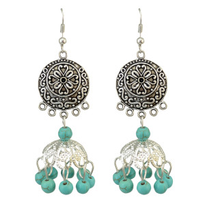E-3773  Bohemian Silver Plated Turquoise  Dangle Earring Tassel Drop Earrings
