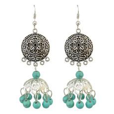 E-3773  Bohemian Silver Plated Turquoise  Dangle Earring Tassel Drop Earrings