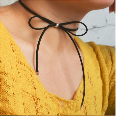 N-6212  3 Colors Fashion Simple Bar Long Leather Chain Pendant  Bow Necklace Women Jewelry
