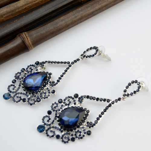 E-3775  Luxury Silver Earrings Plated Full Rhinestone Crystal Statement Large Long Exaggerated Drop Earring with Ear Plugs