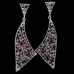 E-3776 Unique Triangle Irregular Silver Large Long Earrings Full Rhinestone Crystal Statement  Drop Earring