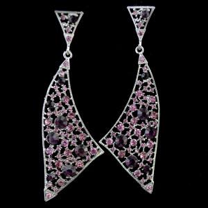 E-3776 Unique Triangle Irregular Silver Large Long Earrings Full Rhinestone Crystal Statement  Drop Earring