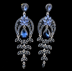 E-3774  Elegant Women Fashion Ear Jewelry Long Dangle Drop Earrings Rhinestone Leaves Christmas gifts for Women