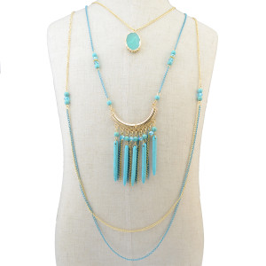 N-6210 Bohemian style retro gold plated multi-layer chian turquoise long pendant tassel necklace jewelry