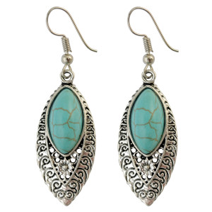 E-3772  Bohemian Antique Silver Fashion Earring Natural Turquoise Bead Dangle Earrings For Women Jewelry