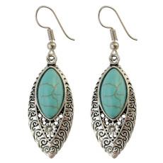 E-3772  Bohemian Antique Silver Fashion Earring Natural Turquoise Bead Dangle Earrings For Women Jewelry