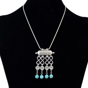 N-6217 Bohemian style new spring fashion jewelry Tibetan Turkish Vintage Silver plated pendant necklace
