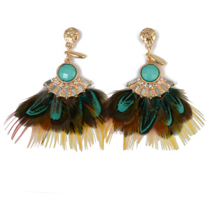 E-3785 Elegant  Feather Crystal Rhinestone Gold Plated Long Earring  Bead Drop Dangle Earrings For Women Jewelry 4 Colors