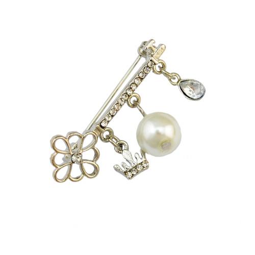 P-0323 Korean Women Fashion Cute Delicate Pearl Silver Brooch Pin