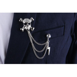 P-0327  2016 Fashion Gold/Silver Plated Punk Crystal Rhinestone  Skull Brooch Pins  Chain  Men Brooches  Jewelry