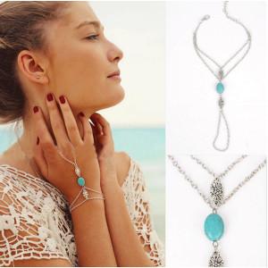 B-0717 European Bohemia Retro Silver Natural Turquoise Flower Bracelet Sexy Ring Bracelets Hand Chain