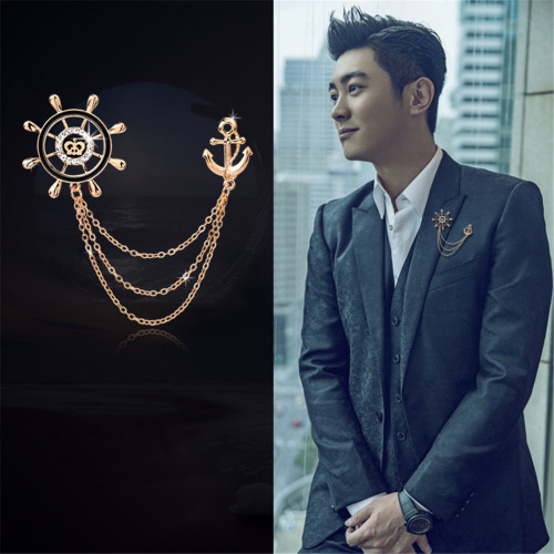 P-0326 Europe Romantic Navy Style Men Rudder Anchor Brooch Pins Metal Chain Corsage British Suit Badge