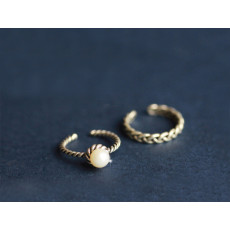 R-1349  2016 Fashion stainless steel spiral pearl 2 rings set trendy jewelry